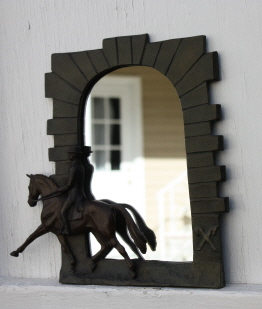 Horse gift item: Dressage mirror with horse & rider in relief